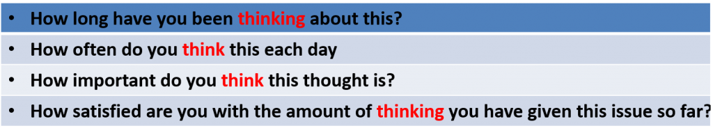 "表三 Asking questions with the word ""thinking"""