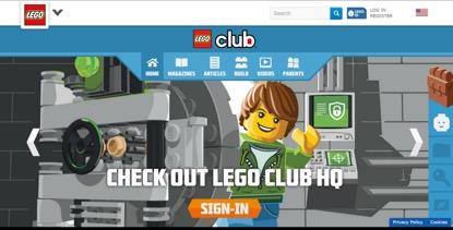 圖二 樂高俱樂部的網站首頁