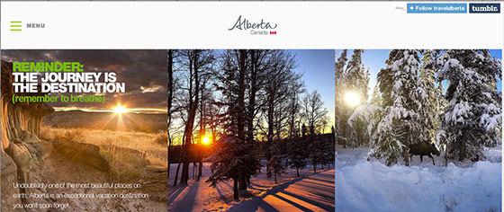 圖一Travel Alberta Tumblr頁面